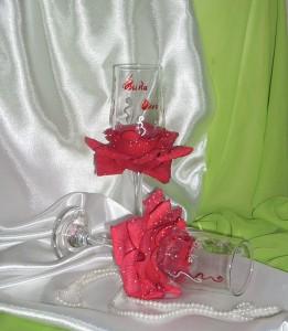 сами делаем свадебные бокалы
